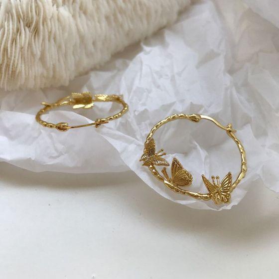 Flying Butterfly Circle 925 Sterling Silver Hoop Earrings