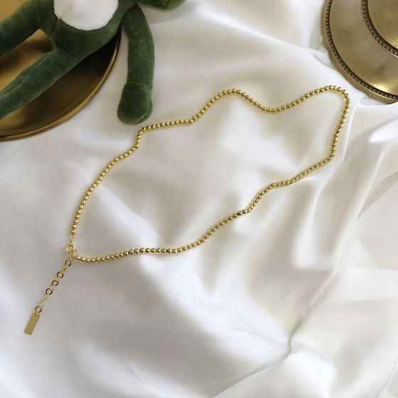 Golden Beads Chain Simple 925 Sterling Silver Necklace