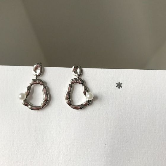 Irregular Shell Pearl Circle 925 Sterling Silver Dangling Earrings