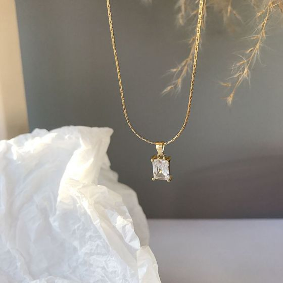 Geometry CZ Sugar Cube 925 Sterling Silver Necklace