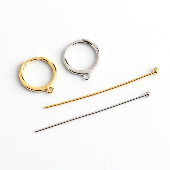 Simple 925 Sterling Silver Pins Earring Hoops