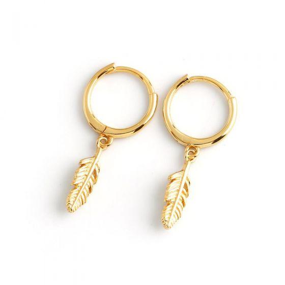 Fashion Leaves 925 Sterling Silver Hoop Earrings