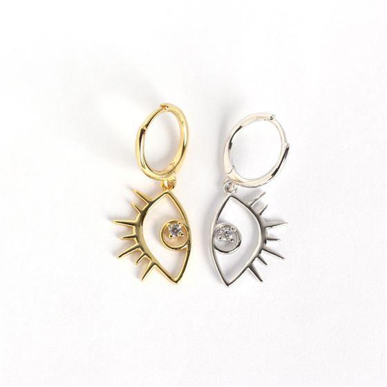 Fashion CZ Big Eye 925 Sterling Silver Leverback Earrings