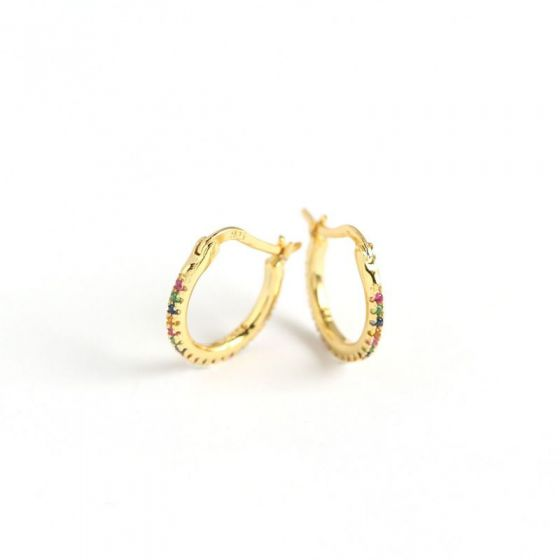 Colorful CZ Round Circle 925 Sterling Silver Hoop Earrings