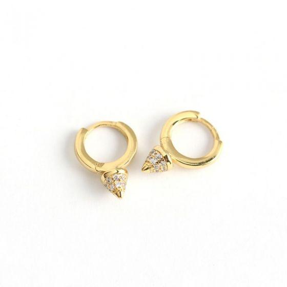 Holiday CZ Rivet 925 Sterling Silver Hoop Earrings