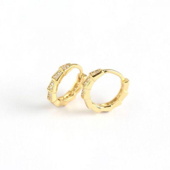Simple Geometry Square CZ 925 Sterling Silver Hoop Earrings