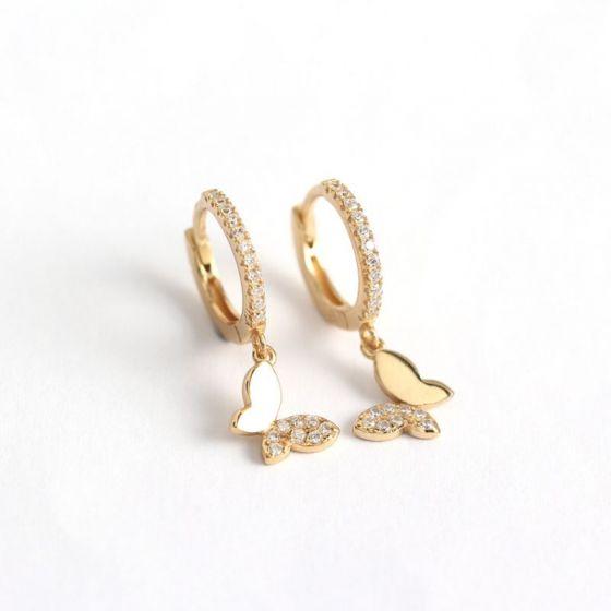 Beautiful Butterfly CZ 925 Sterling Silver Hoop Earrings
