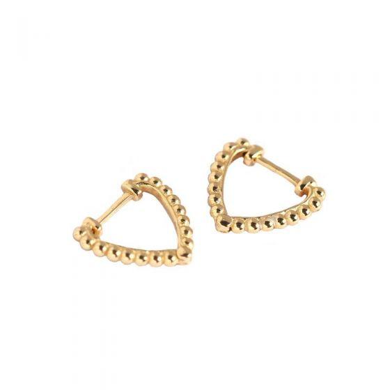 Geometry Beads Hollow Heart 925 Sterling Silver Hoop Earrings