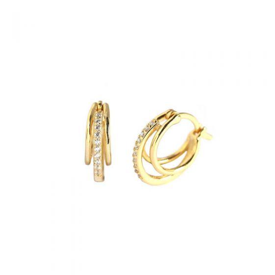 Fashion CZ Three Circle Geometry 925 Sterling Silver Hoop Earrings