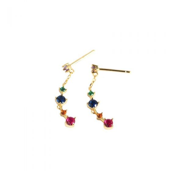 Colorful Geometry CZ Beautiful 925 Sterling Silver Dangling Earrings