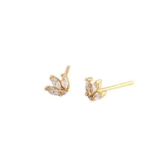 New CZ Leaves Crown 925 Sterling Silver Stud Earrings
