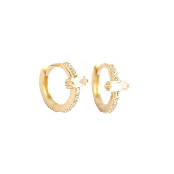 Geometry CZ Rectangle Simple 925 Sterling Silver Hoop Earrings