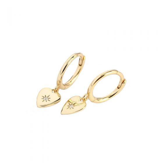 CZ Star Anniversary Heart 925 Sterling Silver Hoop Earrings