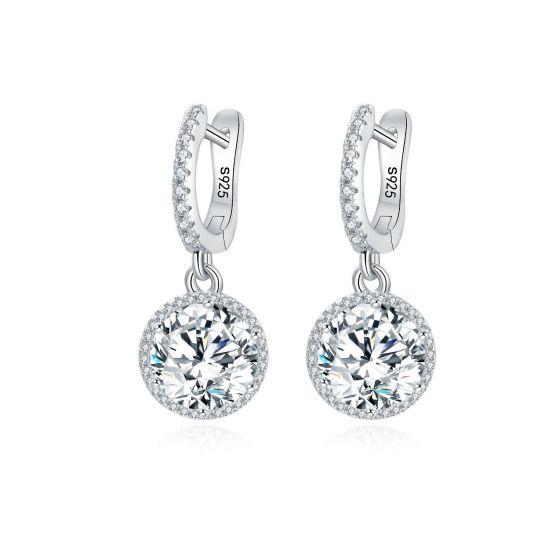 Geometry CZ Round 925 Sterling Silver Hoop Earrings