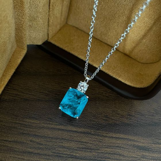 Geometry Baguette Blue Created Tourmaline CZ 925 Sterling Silver Necklace