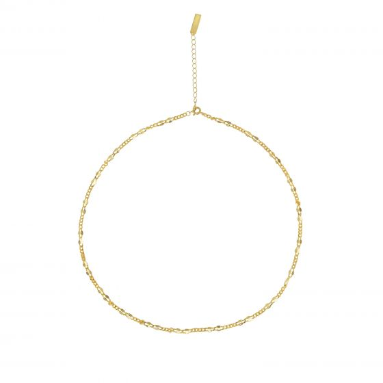 Fashion Irregular Golden Hollow Chain 925 Sterling Silver Necklace