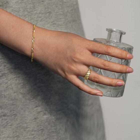 Fashion Golden Irregular Hollow Chain 925 Sterling Silver Bracelet