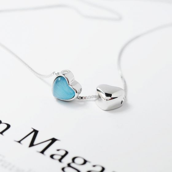 Two Hearts Blue Genuine Peridot 925 Sterling Silver Necklace