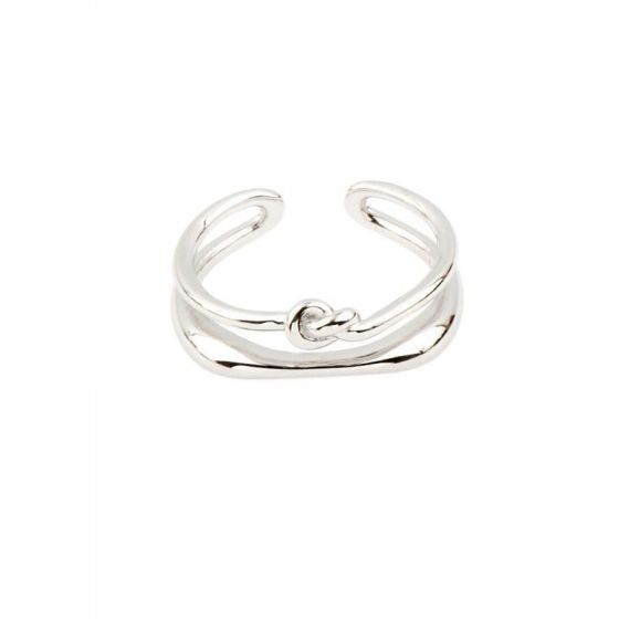 Fashion Double Layer Knot 925 Sterling Silver Adjustable Ring