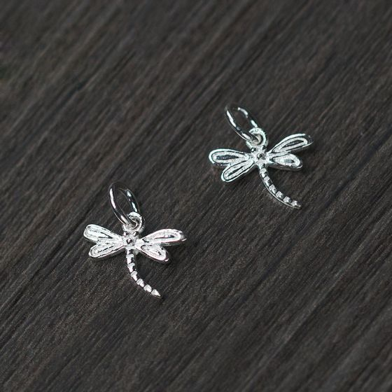 Simple Small Dragonfly 925 Sterling Silver DIY Charm