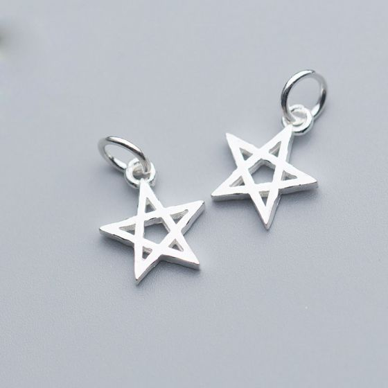 Simple Hollow Star 925 Sterling Silver DIY Charm