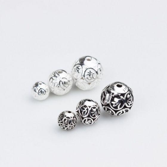 DIY Hollow Om Mani Padme Hum 925 Sterling Silver Beads