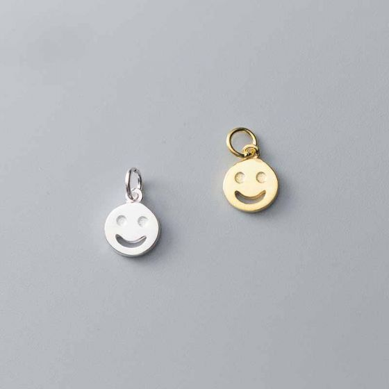 Sweet Round Smile Face Tag 925 Sterling Silver DIY Charms