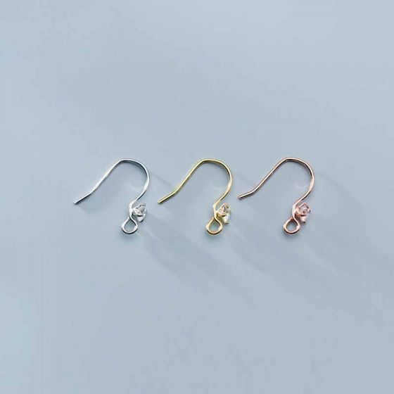 Simple CZ 925 Sterling Silver DIY Earring Hooks