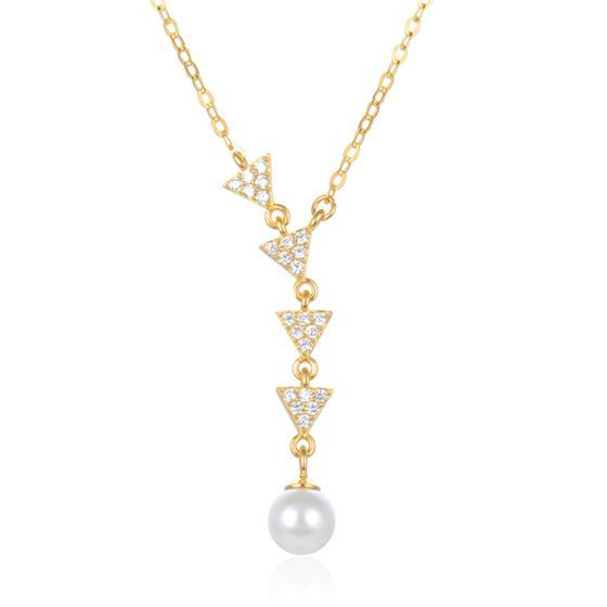 Geometry CZ Triangle Shell Pearl 925 Sterling Silver Necklace