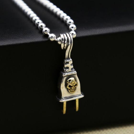 Vintage Skeleton Skull Plug Pin 925 Sterling Silver Men 250V Pendant