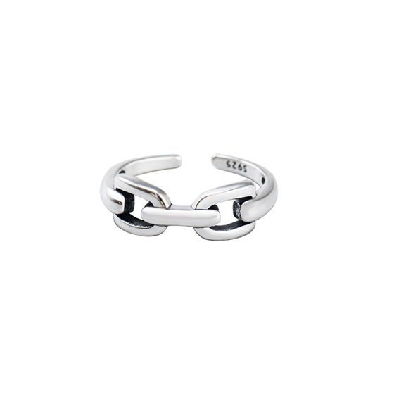 Daily Hollow Chain 925 Sterling Silver Adjustable Ring