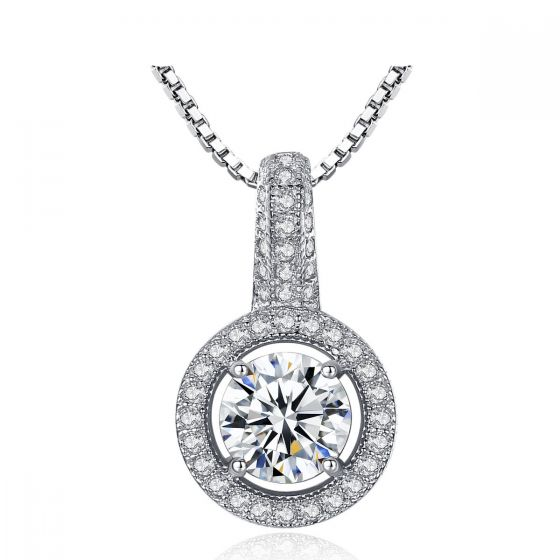 Simple Hollow Round CZ 925 Sterling Silver Necklace