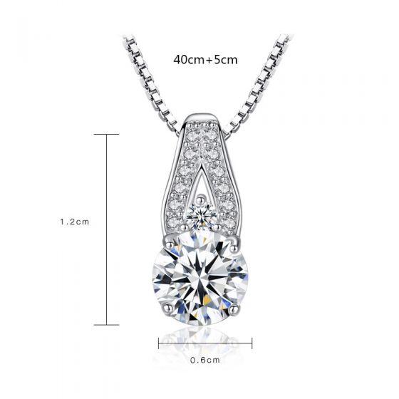 Simple V Shape Round CZ 925 Sterling Silver Necklace