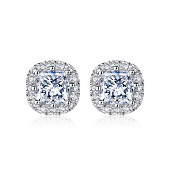 REAL 925 sterling silver micro setting CZ SQUARE studs stud earrings women men