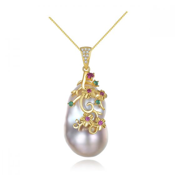 Colorful CZ Carved Unique Natural Pearl 925 Silver Necklace