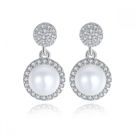 Round Ball Natural Pearl CZ 925 Silver Dangling Earrings