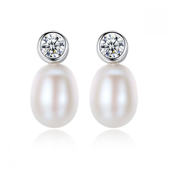 Round CZ Waterdrop Natural Pearl 925 Silver Studs Earrings