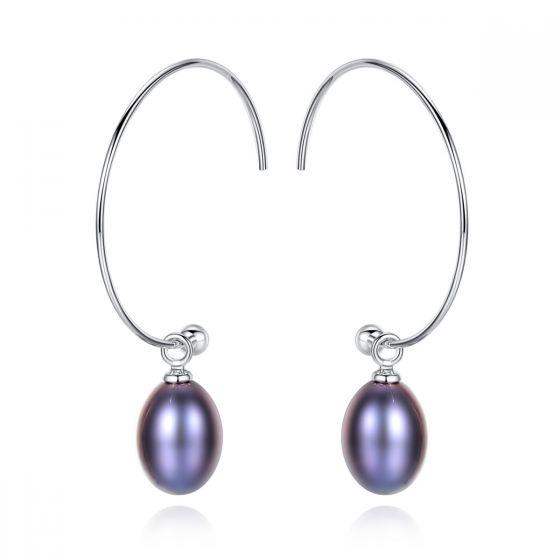 Simple Natural Pearl 925 Sterling Silver Hoop Earrings