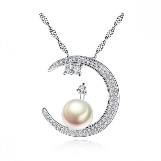 CZ Natural Pearl On Crescent Moon 925 Sterling Silver Necklace