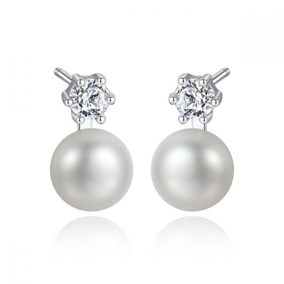Simple Round CZ Shell Pearl 925 Sterling Studs Earrings