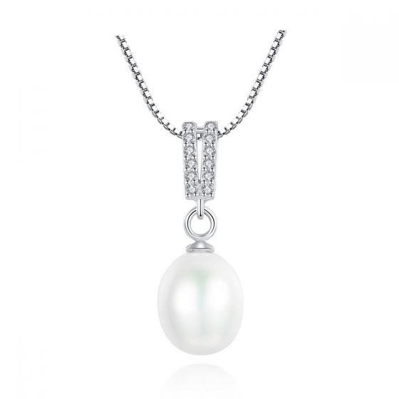 Simple Waterdrop Natural Pearl CZ 925 Sterling Silver Necklace