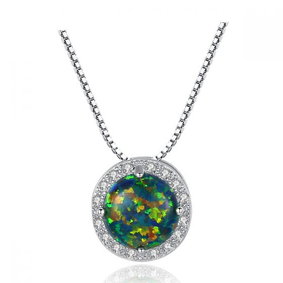 Simple Round CZ Created Opal 925 Sterling Silver Necklace