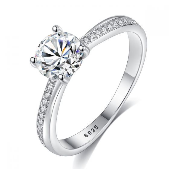 Classic Round CZ 925 Sterling Silver Ring