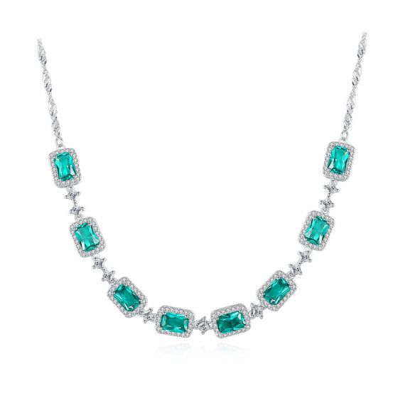 Geometry Natural Treated Crystal CZ 925 Sterling Silver Necklace