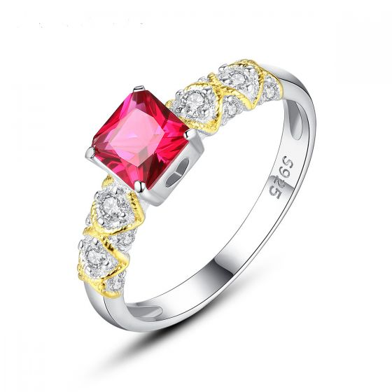 Holiday Geometry CZ Square 925 Sterling Silver Ring