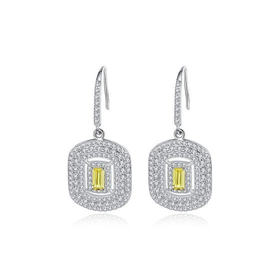 Elegant Geometry CZ 925 Sterling Silver Dangling Earrings