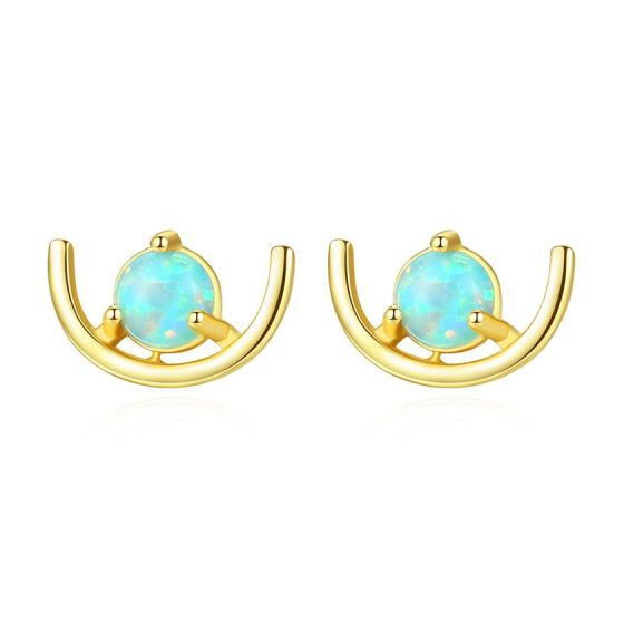 Sweet Round Created Opal Crescent Moon 925 Sterling Silver Stud Earrings