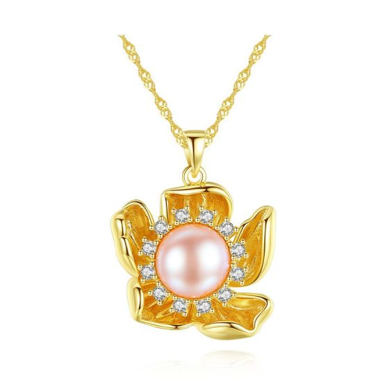 Beautiful Natural Pearl CZ Flower 925 Sterling Silver Necklace