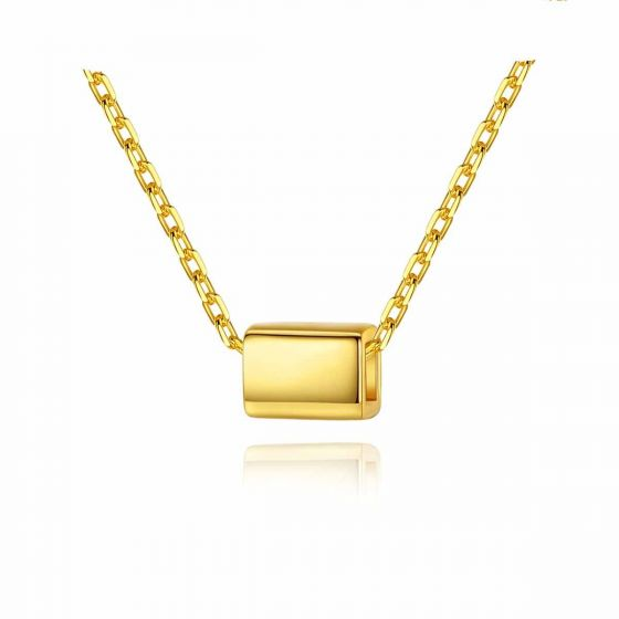 Geometry Golden Cuboid 925 Sterling Silver Necklace