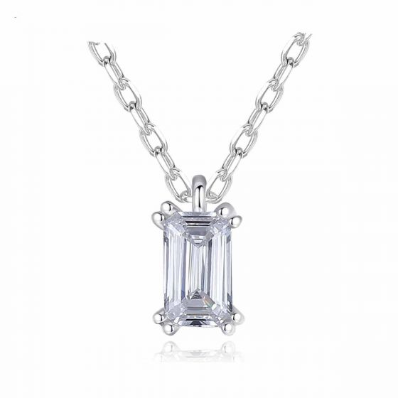 Geometry CZ Baguette 925 Sterling Silver Necklace